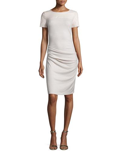 Short-Sleeve Ruched Sheath Dress, Windchime