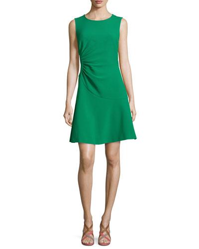 Dayna Crepe A-Line Dress, Emerald Sea