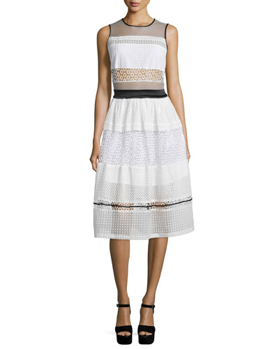 Sleeveless Pierced Mixed-Lace Dress, White