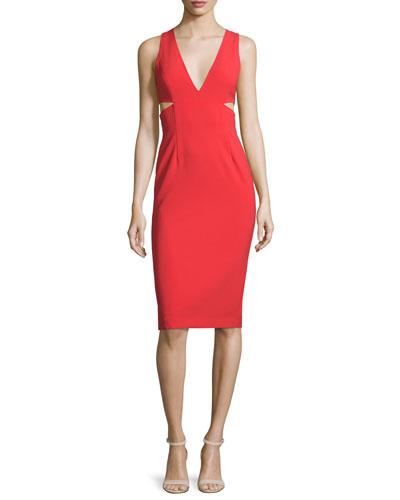 Riki Cutout Ponte Sheath Dress, Light Red