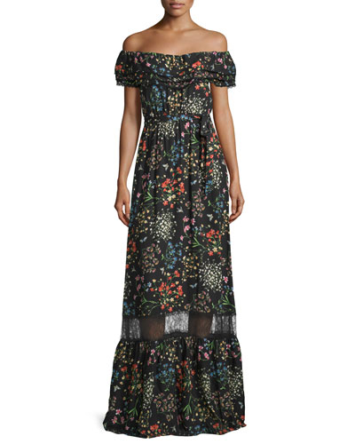 Cheri Off-the-Shoulder Floral Maxi Dress, Black/Multicolor