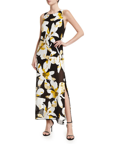 Lucia Floral Maxi Dress, Black/Multicolor