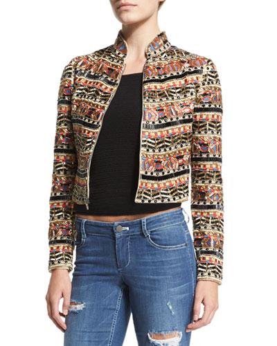 Mikayla Embellished Cropped Jacket, Multicolor