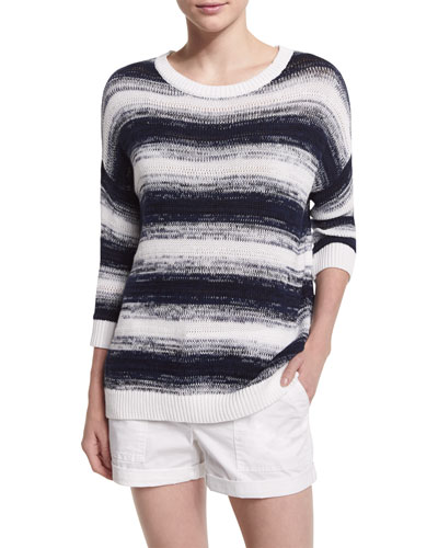 Ombre Striped Pullover Sweater