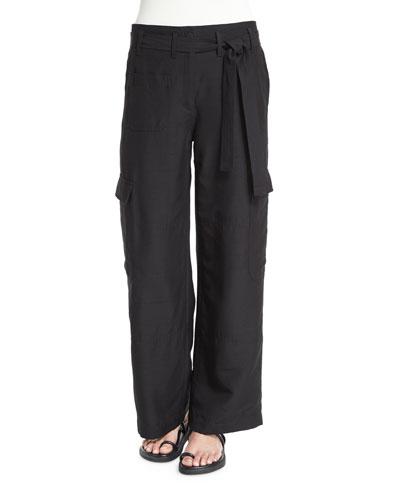 Silk Suiting Straight Doupioni Cargo Pants, Black