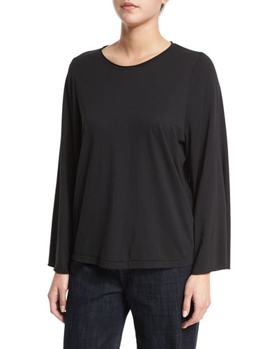 Long-Sleeve Flared Jersey-Knit Top, Black