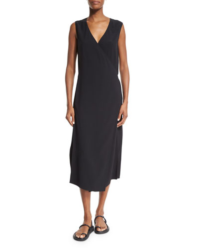Sleeveless Surplice Crepe Midi Dress, Black