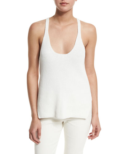 Ribbed Cotton Racerback Tank, White