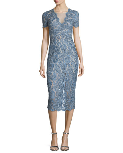 Short-Sleeve Lace Midi Cocktail Dress, Denim Blue