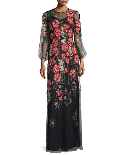 Long-Sleeve Embroidered-Floral Dress, Black