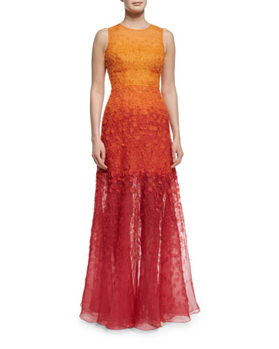 Sleeveless Degrade Appliqué Gown, Henna