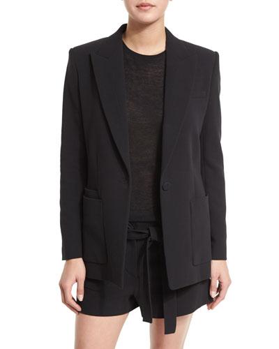 Double-Weave Cotton Single-Button Blazer, Black
