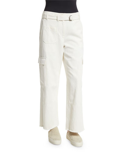 Cropped Oversized Twill Cargo Pants, Ivory