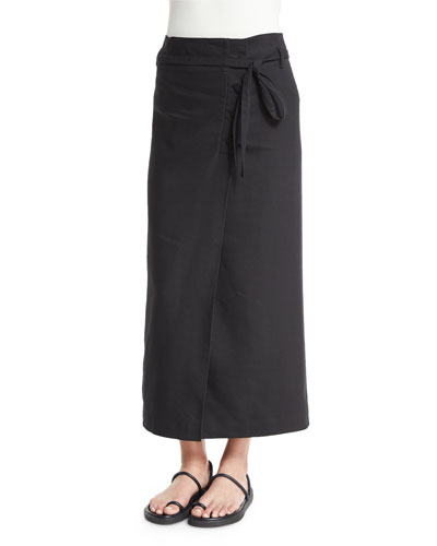 Linen-Blend Suiting Wrap Skirt, Black