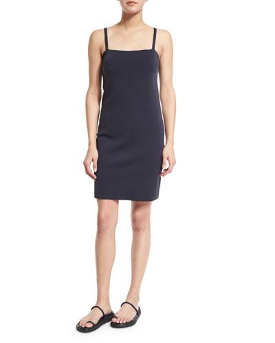 Sleeveless Technical Neoprene Scuba Dress, Navy