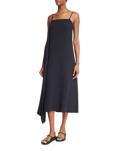 Sleeveless Draped Crepe Midi Dress, Navy