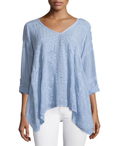 Long-Sleeve Handkerchief Tunic, Periwinkle, Petite