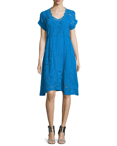 Short-Sleeve Midi Eyelet Dress, Petite