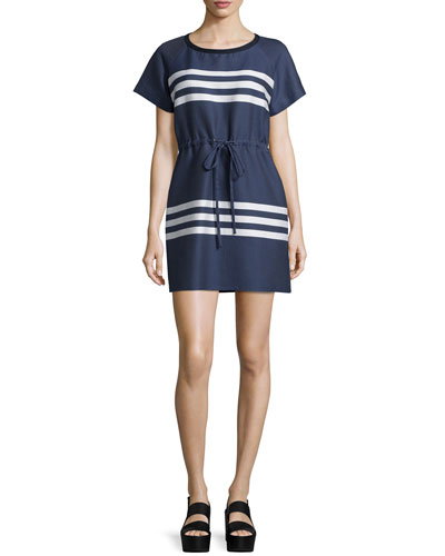 Short-Sleeve Striped Dress, Blue/Cream