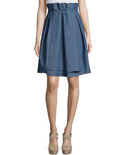 Ruched-Waist Denim Skirt