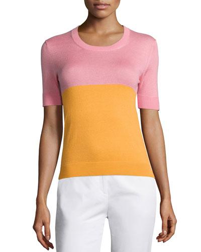 Crewneck Bicolor Short-Sleeve Top