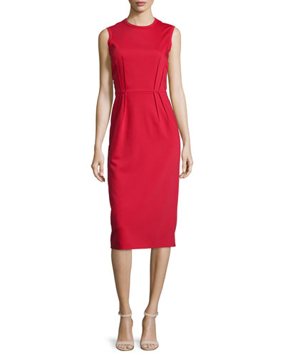 Sleeveless Pleated-Waist Sheath Dress, Red