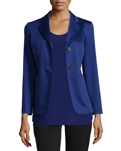 Two-Button Fitted Blazer, Blue