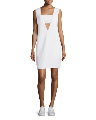 Bandeau Crepe Shift Dress, Off White