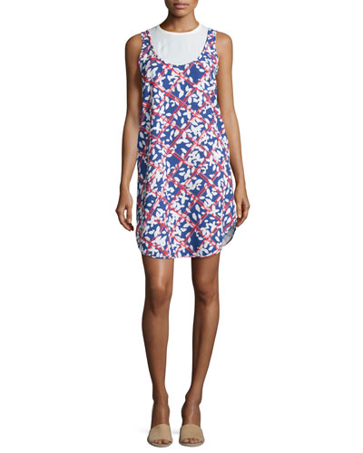 Round-Neck Floral-Print Dress, White/Blue