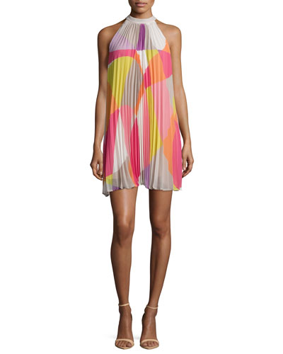Sleeveless Mod-Print Pleated Dress