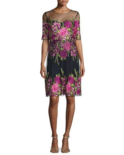 Half-Sleeve Floral-Embroidered Popover Dress