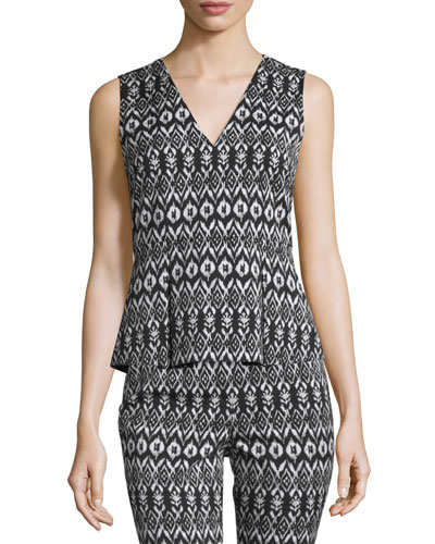 Ailey Printed Sleeveless Peplum Top, Black/White
