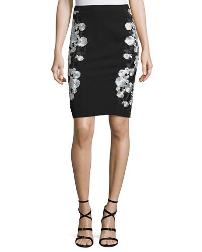 Hillaria Embroidered Pencil Skirt, Black/White