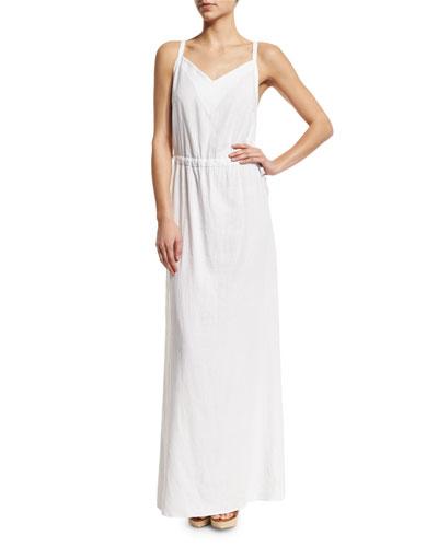Canvas Sleeveless Coverup Maxi Dress, White