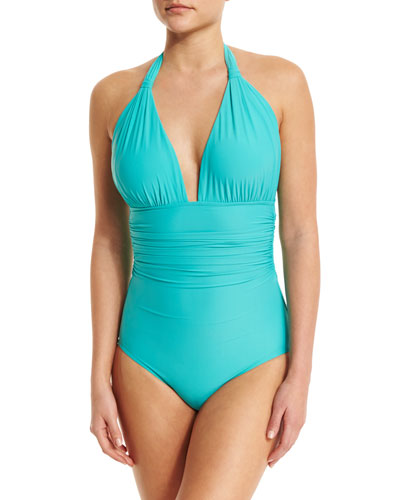 Halter-Neck Ruched Maillot One-Piece Swimsuit, Turquoise
