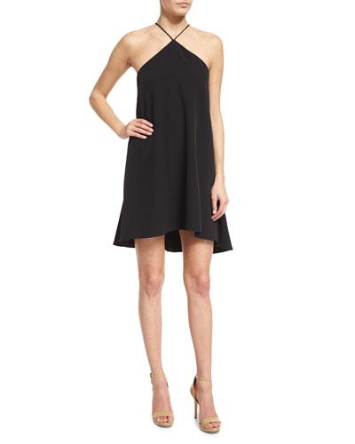 Halter-Neck Cascade-Back Dress, Black