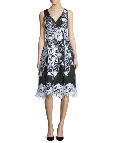 Sleeveless Floral A-line Cocktail Dress