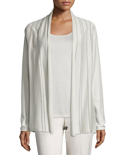 Sheer Striped Silk/Cotton Cardigan, Raffia, Plus Size