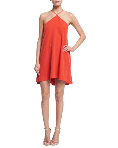 Halter-Neck Cascade-Back Dress, Flame