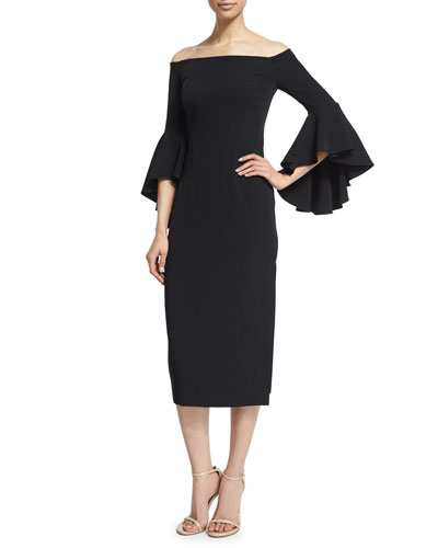 Selena Off-The-Shoulder Midi Dress, Black