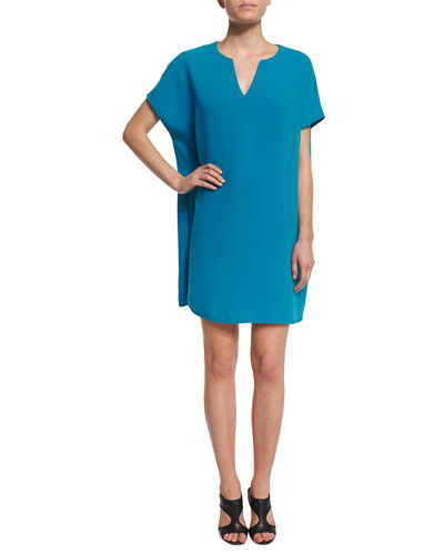 Kora Short-Sleeve Shift Dress, Atlantis Blue
