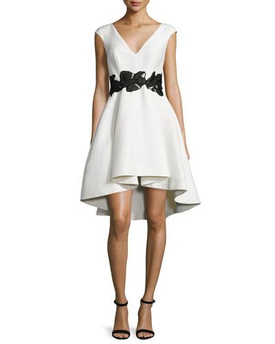 Cap-Sleeve V-Neck Fit & Flare Dress, Eggshell/Black
