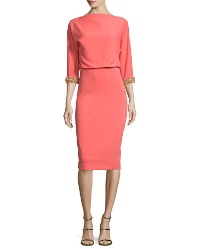 Beaded-Cuff 3/4-Sleeve Cocktail Dress, Coral/Gold