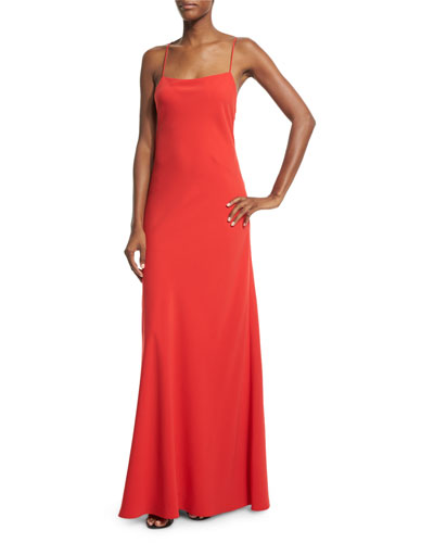 Sleeveless Ruffle-Back Column Gown, Poppy