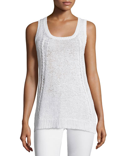 Scoop-Neck Cable-Knit Tank