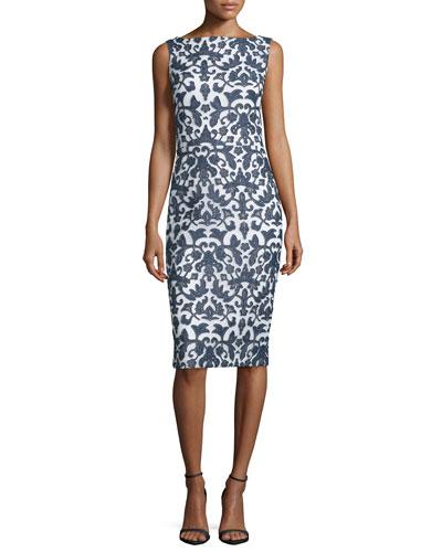 Sleeveless Floral-Print Sheath Dress, Navy/White