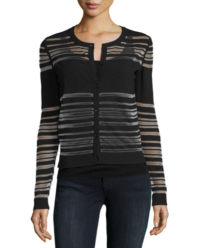 Invisible-Striped Button-Front Cardigan, Black