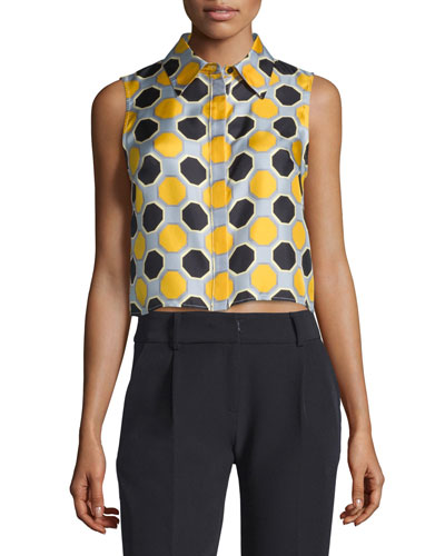 Sleeveless Printed Crop Top, Ochre