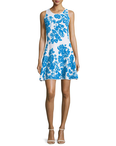 Sleeveless Floral-Print Dress, Ivory/Aqua