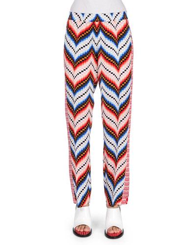Mixed-Print Straight-Leg Pants, Peach/Multicolor